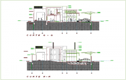 Different axis section view for residential building dwg file