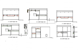Different axis section view of house dwg file