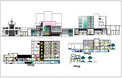 Different axis section view of municipal building dwg file
