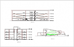 Different axis section view of museum dwg file