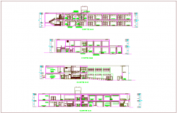 Different axis sectional view of school with necessary dimension view dwg file