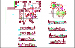 Different axis sectional view with plan of education center dwg file