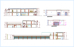 Different elevation and section view of industrial plant dwg file