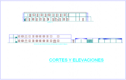 Different elevation and section view of technical collage dwg file