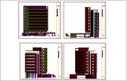 Different elevation view of office dwg file