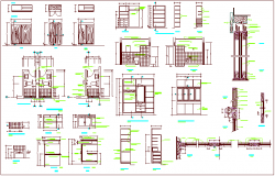 Different furniture view with section dwg file