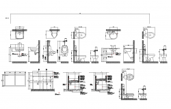 Different sanitary block detail elevation 2d view layout file