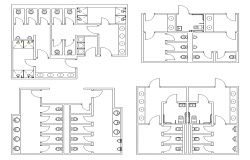 Different sanitary public toilet structure 2d view layout file