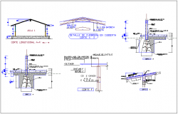 Different section view with structural view for classroom dwg file