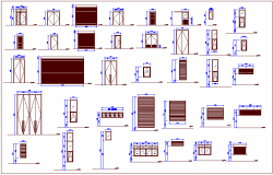 Different shape and size door and window view for conference building dwg file