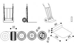 Different shape wheel barrow detail dwg file