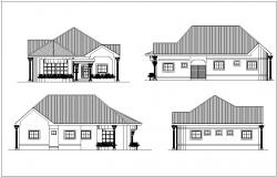 Different side elevation of three bedroom with architectural view dwg file