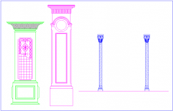 Different type column design view in Islamic art dwg file