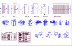 Different type door design with detail view and description table dwg file