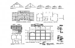 Different types of roofing structure 2d view CAD structural block layout dwg file