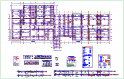Digital Danial plan with column and beam structure detail dwg file