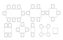 Dining Table Sect 2d CAD Furniture Blocks Free Download