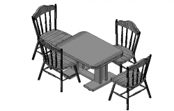 Dining table and seats details in 3d