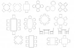 Dining table set plan detail dwg file.