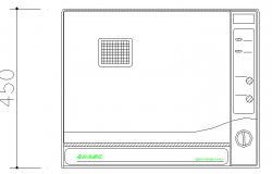 Dish washer front elevation cad block details dwg file