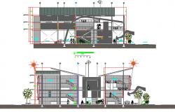 Distribution commercial plant front and back sectional view details dwg file