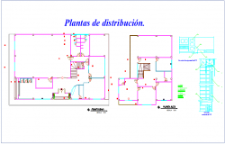 Distribution floor plan of communal office dwg file