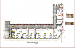 Distribution general plan with door and window detail for municipality building dwg file