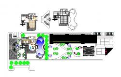 Distribution layout plan details of luxuries club house dwg file