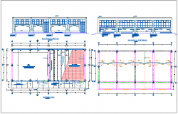 Distribution plan and elevation of school classroom dwg file