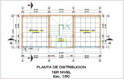Distribution plan of first floor for office dwg file