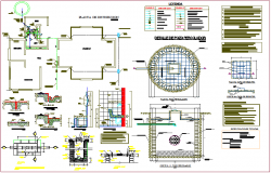 Distribution plan with water line single line  view with its legend for education center dwg file