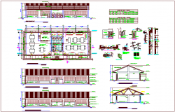 Distribution view of area with section and door and window view with detail and schedule dwg file