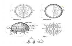 Dome elevation, section and constructive details dwg file