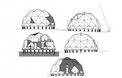 Dome shape house design with architecture view dwg file