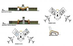 Domestic airport elevation and floor plan cad drawing details dwg file