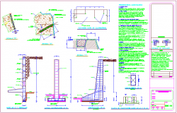 Donatello wall executive project with retaining  wall with construction detail dwg file