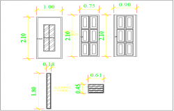 Door & window elevation view detail dwg file