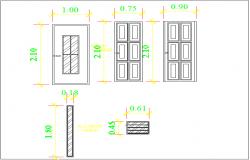 Door & window elevation view detail dwg file
