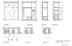 Door and cub board elevation detail dwg file