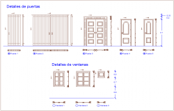 Door and window design view for house dwg file
