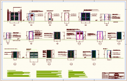 Door and window detail for educational building dwg file