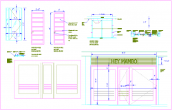 Door and window detail view for office design dwg file