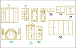 Door and window different design view for apartment dwg file