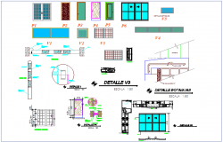 Door and window elevation and section view for office dwg file