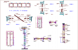 Door and window elevation and section view for school dwg file