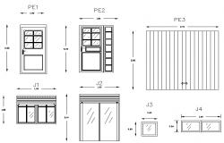 Door and window elevation detail dwg file