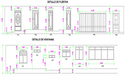 Door and window elevation plan autocad file