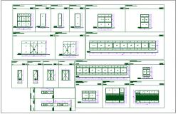 Door and window elevation view detail dwg file