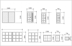 Door and window elevation with different design for 3 bedroom design dwg file