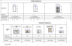 Door and window schedule plan dwg file